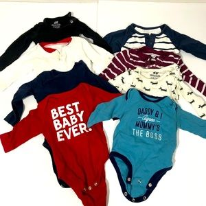 Lot of 8: Baby Bodysuits Long Sleeve 3-6 Months